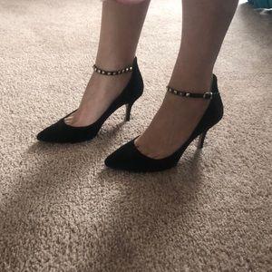 BCBG Black Suede Heels w/ Gold studded ankle strap